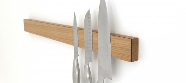 Messerleiste mit Magnet aus Holz, Eiche