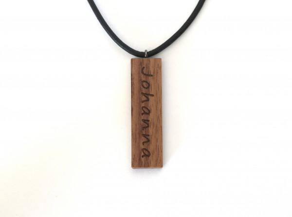 Halskette mit Namen aus Holz, rechteck