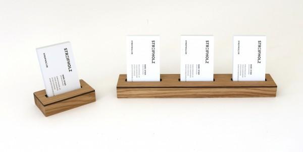 Visitenkartenständer mehrfach & einzeln aus Holz
