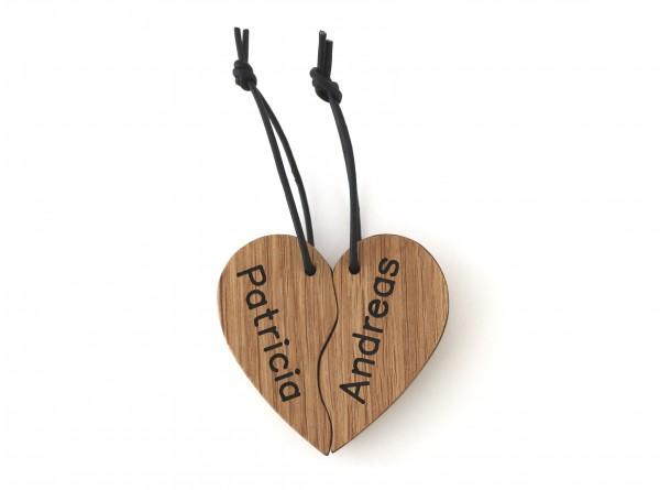 Schlüsselanhänger Herz mit Gravur der Namen
