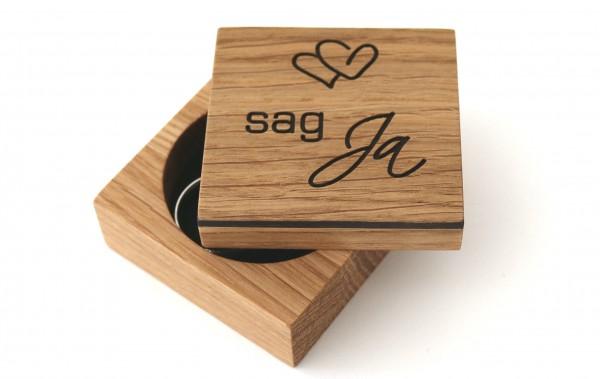 """Ring Box aus Holz für Heiratsantrag """"sag Ja"""", Eiche"""