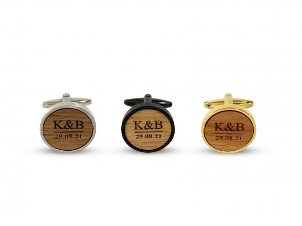 Manschettenknöpfe aus Holz mit Gravur