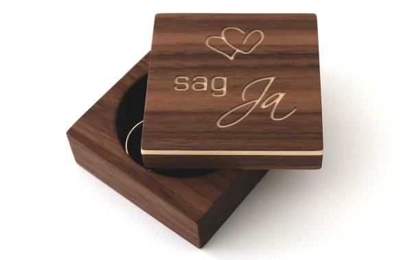 "Ringbox ""sag Ja"", Nussbaum"