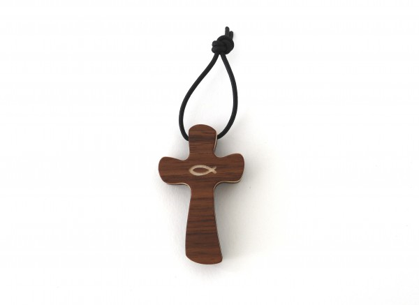 Kreuz Schlüsselanhänger aus Holz mit Fischsymbol, Nussbaum