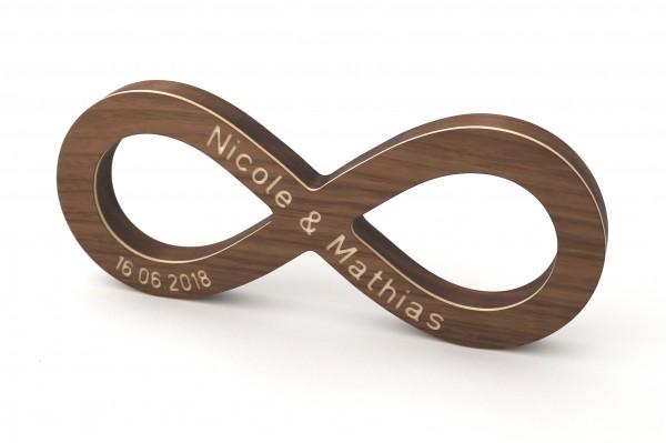 Endlosschleife mit Namen und Datum aus Holz, personalisiertes Geschenk zur Hochzeit, Nussbaum