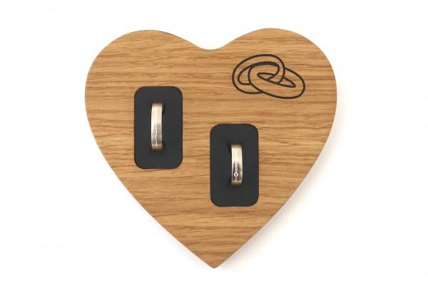 Herz Ringkissen, alternativ aus Holz, Eiche