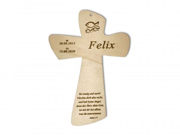 Taufkreuz mit Taufspruch personalisiert aus Holz