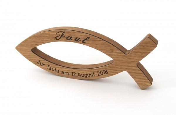 Christenfisch aus Holz, personalisiert als Geschenk zur Taufe & Kommunion, Eiche