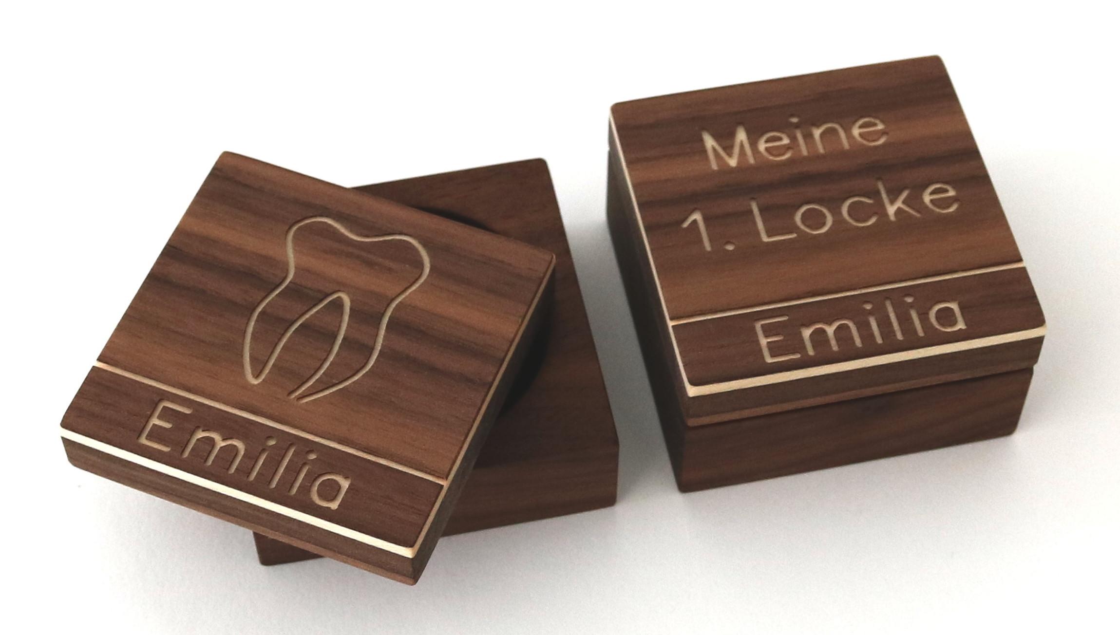 zahndose und lockendose mit namen nussbaum streifholz. Black Bedroom Furniture Sets. Home Design Ideas