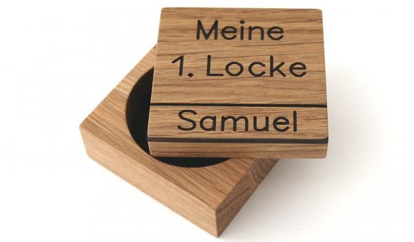 Erste Locke Dose aus Holz mit Gravur