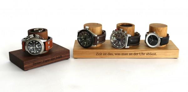Uhrenbox aus Holz mit Gravur, Eiche & Nussbaum