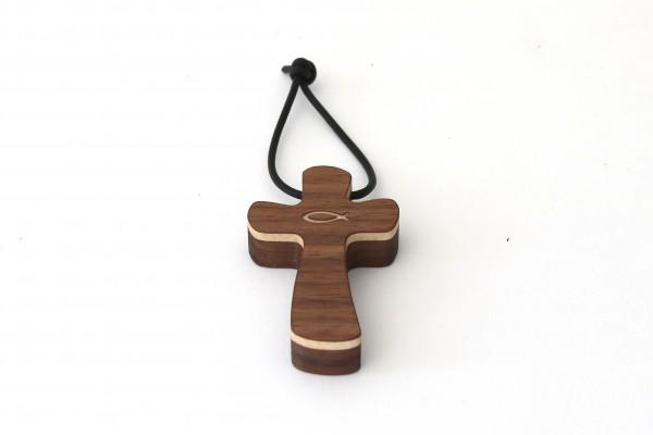 Kreuz Schlüsselanhänger aus Holz