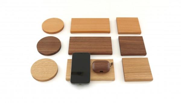 Wireless Charger aus Holz mit Gravur personalisiert