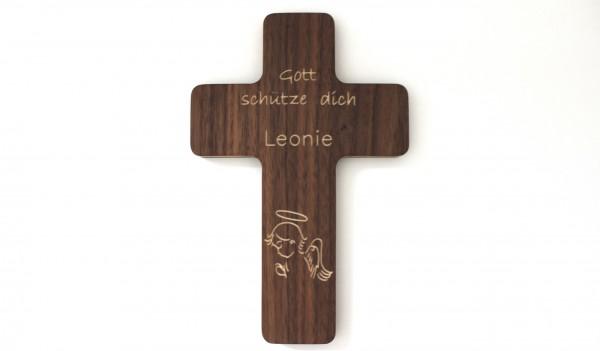 Taufkreuz aus Holz mit Namen & Schutzengel