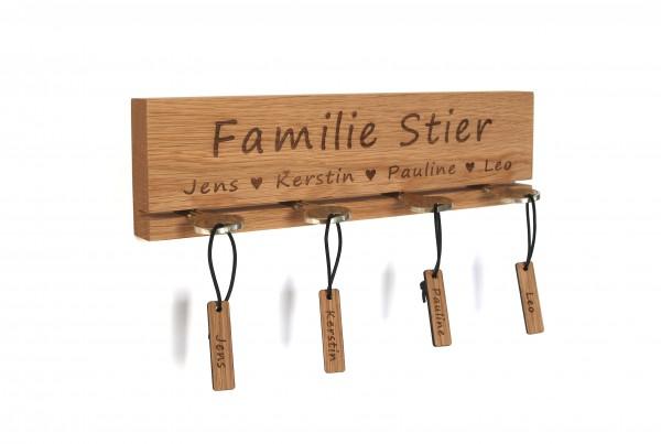 """Schlüsselbrett aus Holz Gravur """"Familie"""""""