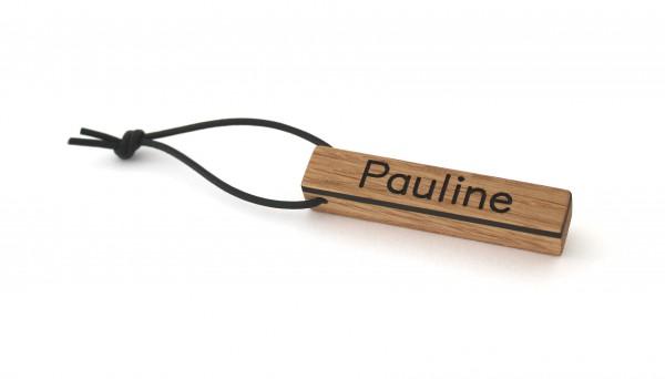 Schlüsselanhänger mit Namen aus Holz, Eiche