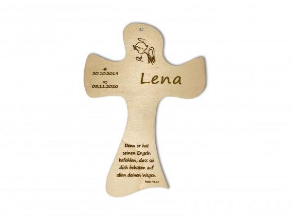 Taufkreuz mit Gravur aus Holz