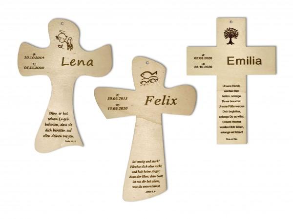 Taufkreuz aus Holz, personalisiert mit Taufspruch, Name & Datum