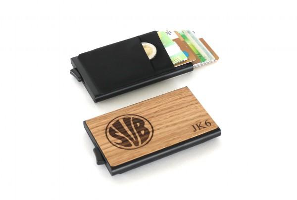 Kreditkartenetui mit Logo & Vereinswappen aus Holz